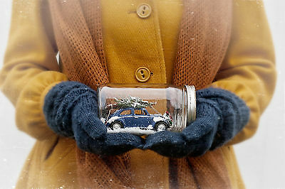 Volkswagen VW Bug Blue Mason Jar Christmas Snow Globe Holiday Gift New  OOAK