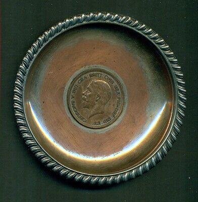 Exeter Ashtray Silver On Copper King George V One Penny 1936