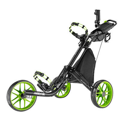 CaddyTek CaddyLite EZ-Fold 3 Wheel Golf Push Buggy / Push Cart - Lime