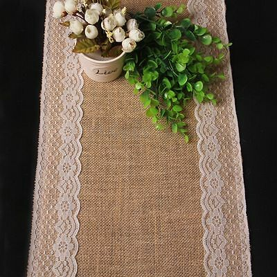 176cm x 30cm Natural Brown Burlap Lace Hessian Table Runner Wedding Party Decor