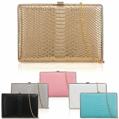 Hard Compact Women Clutch Croc Patent Boxy Faux Leather Ladies Evening Prom Bags