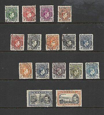 1938 King George VI SG49 - SG59c Full Set Definitives all Good Used NIGERIA