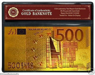24 Carat Gold Plated Colourised €500 Euro Europe Bank Note With COA (3)*