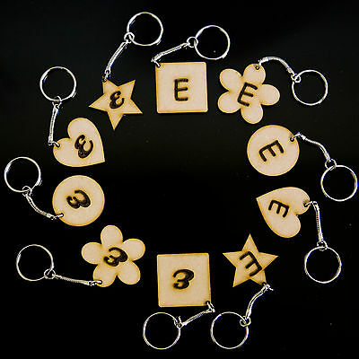 Personalised Keychain Many Shapes Engraved Initial Wooden Keyring Novelty Gift !