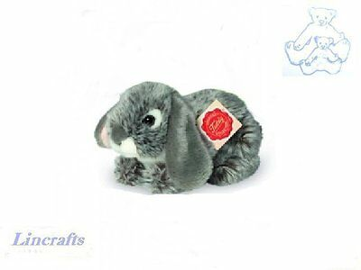 Grey Rabbit Crouching Plush Soft Toy by Teddy Hermann Collection. 93780