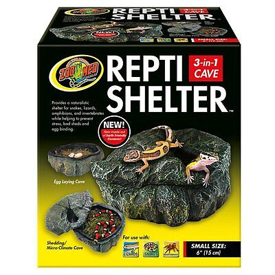 Zoo Med Reptile Shelter 3 in 1 Cave, Small Provides Security and by Zoo Med NEW