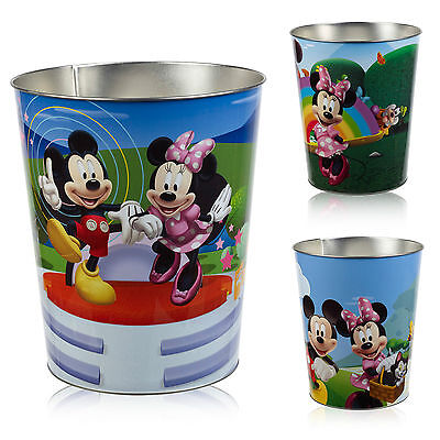Disney Kids Stainless Steel Metal Rubbish Bin Children Bedroom Playroom Dustbin