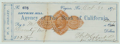 RARE Agency California Bank Virginia City Nevada 1874 Signed Hobart Lumber Baron