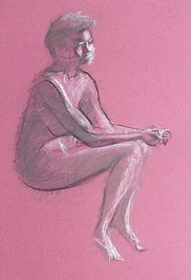 Original Drawing, Life Drawing, Female Sat Wrists on Knee on Toned Paper