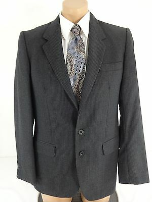 Dunn & Co Mens Gray Pinstriped Wool Suit Jacket Sport Coat Size 38R From Britain