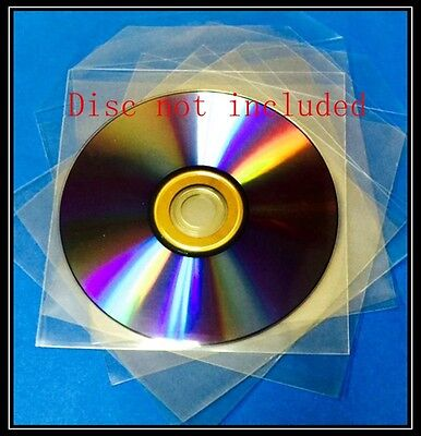 100 Premium Clear CPP Plastic CD DVD Sleeves Bag with Flap  (120 Microns)