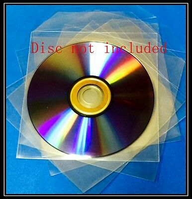 1000 Premium Clear CPP Plastic CD DVD Sleeves Bag with Flap  (120 Microns)