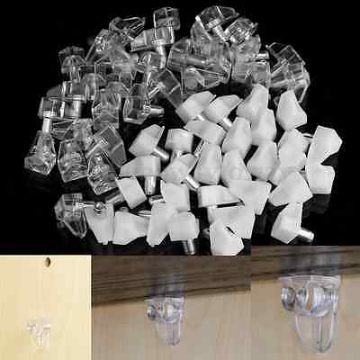30PCS White Plastic Shelf Support Pins Pegs Bookcase Cabinet Shelves Holder