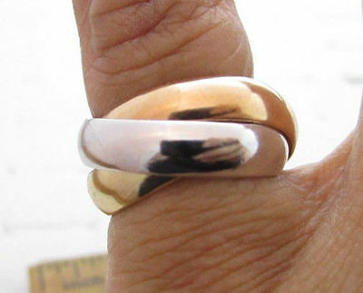 VINTAGE TRI-COLOR TRINITY ROLLING 4mm 3 BANDS GOLD PLATED ESPOSITO RING*S967