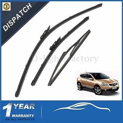 24''/16'' Front & 12'' Rear Windscreen Wiper Blades For Nissan Qashqai 2007-2013