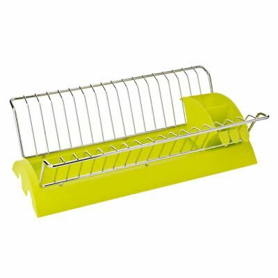 Dish Drainer, Lime Green Plastic/Chrome, Removable Cutlery Caddy