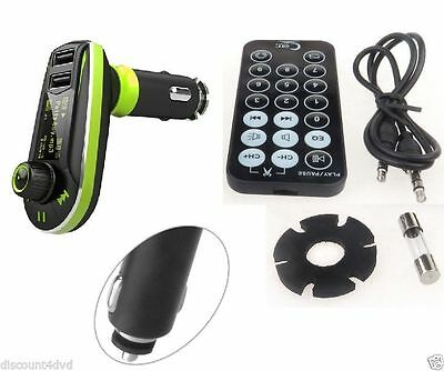 Car FM Radio Wireless Transmitter MP3 Player USB SD Slot + Remote for iphone UK
