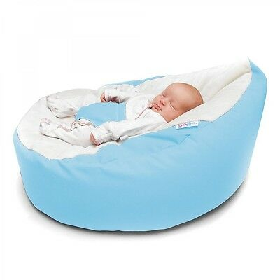 GaGa Cuddlesoft Baby Blue PreFilled Bean Bag, Adjustable Harness - Free Delivery