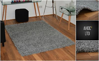 New X Large Light Grey 5cm Modern Plain Shaggy Rugs Thick Soft Pile Area Rug Mat