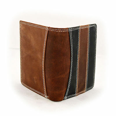 New Mens Real Genuine Leather Wallet Black Brown Folded Photo Id Card Holder