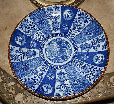 Antique Vtg Japanese or Chinese Blue White Porcelain Charge Plate / Bowl Signed