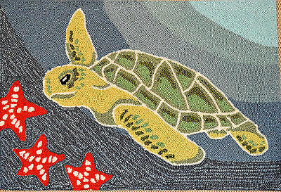 Sea Turtle & Star Fish Out Door Mat Hooked Area Rug Home Decor