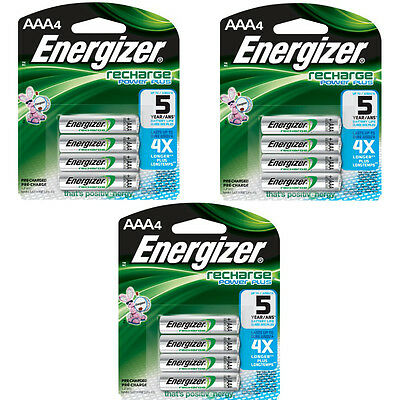 Energizer AAA Rechargeable Batteries 4 Pack, 3 Count = 12 Batteries