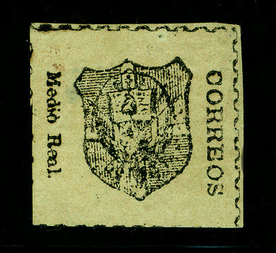 DOMINICAN REPUBLIC 1865 Coat of Arms ½real pale green - LAID PAPER Sc# 3 mint MH