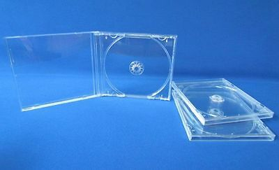 5 New Standard 10.4mm Single Clear Tray CD DVD R Jewel Cases, holds1 Disc, CDSC