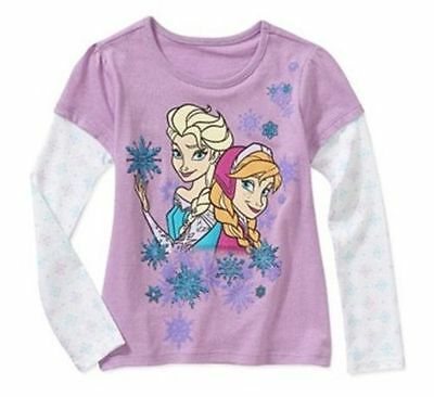 Disney Frozen Anna Elsa Light Purple Long Sleeve Tees Toddler Girls 3T 4T 5T 6