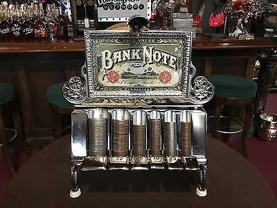 "Original 1800's LAMSON Cast Iron Coin Changer Bank w lit Marquee ""Watch Video"""