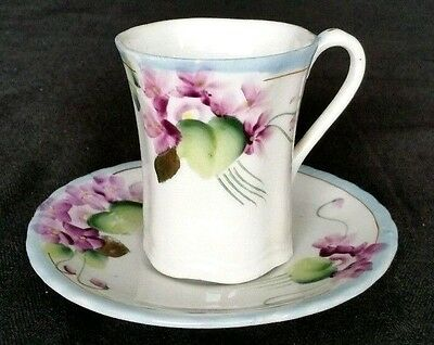 Nippon Hot Chocolate Cup and Saucer Hand Painted Violets Gold Detail  D2