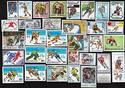50 All Different ICE HOCKEY ON   STAMPS