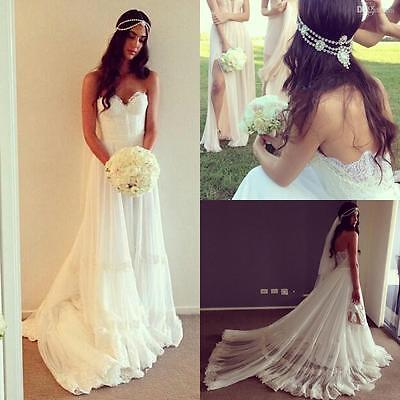 Summer Lace Bohemian Gothic Sweetheart Beach Bridal Gown Backless Wedding Dress
