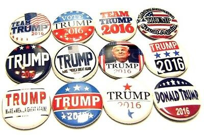 """12 Donald Trump 2016 For President ONE Inch Buttons Republican 1"""" Pinbacks Pins"""
