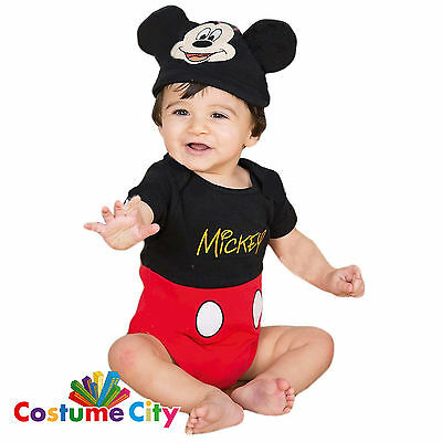Babys Toddlers Official Disney Mickey Mouse Bodysuit Fancy Dress Party Costume