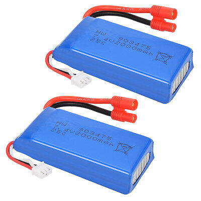 2 Rechargeable 7.4V 2000mAh Battery for Syma X8C X8W X8G Drone Quadcopter BC525