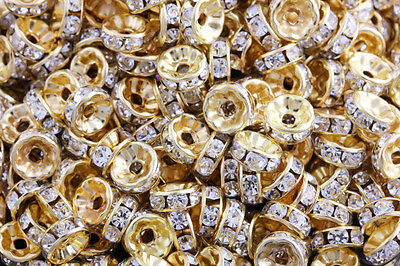 100 Pcs Gold Plated Crystal Rondelle Spacer Beads Charms Jewelry Findings 8mm