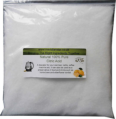 Citric Acid 500g Sterilizers Bath Bombs Elderflower Kettles Remove Limescale