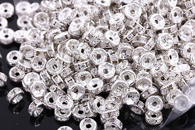 200 Pcs Silver Plated Crystal Rondelle Spacers Beads Charms Jewelry Findings 6mm