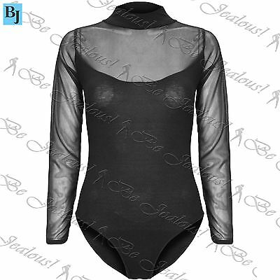 Womens Mesh Insert Long Sleeve Leotard Ladies High Turtle Polo Neck Bodysuit