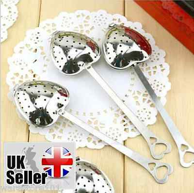 Stainless Steel Heart Shape Tea Spoon Infuser Leaf Herb Filter Strainer Steeper
