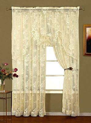 Abbey Rose Lace Valance - Ivory Or White  - Shabby Victorian
