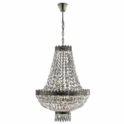 French Empire 6 Light Antique Bronze Finish and Clear Crystal Basket Chandelier