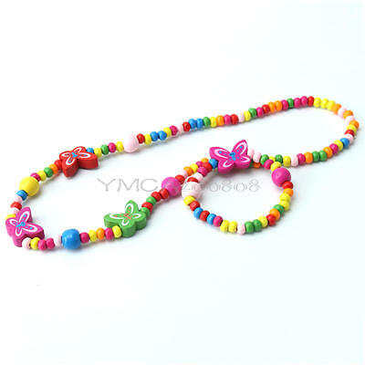 Multi-Color Wooden Bead Necklace&Bracelet Butterfly For Children Girls Gift