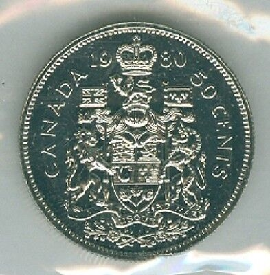 1980 Fifty Cent Half Dollar 80' Canada-Canadian BU Coin UNC RCM Proof Like PL