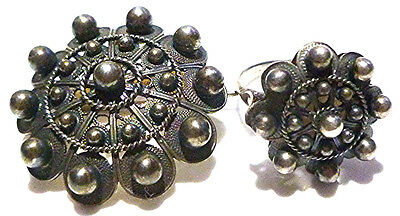Antique Old Spanish Spain Sterling Silver Ball Ring Brooch Pin Pendant Set Lot