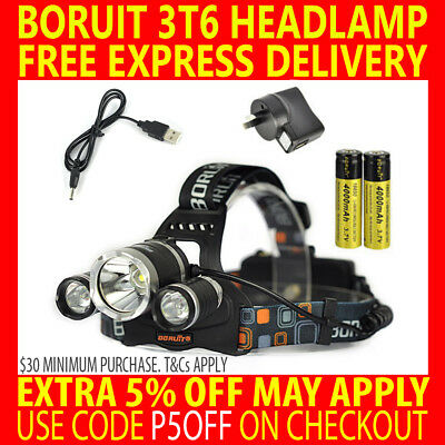 Rechargeable Boruit Cree 3T6 13000Lm 3 T6 Xml Led Headlamp Headlight Torch Lamp