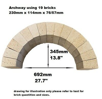 PIZZA OVEN ARCH 19 X ARCHED BRICKS  230 X 114 X 76/57mm BREAD OVEN FIREPIT