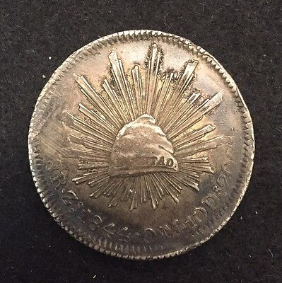 MEXICO 1844 ZsOM 8 Reales Silver Crown